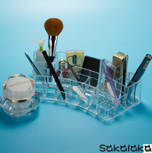 Transparent acrylic big size nail polish brush eyebrow pencil cosmetic tool boxes desktop accessories storage box