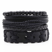 New Fashion Weave Vintage Cuff Beads Leather Anchor Infinity Charm Black Male Men Bracelets Women Female Jewelry Accessories(China)