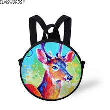 ELVISWORDS Children Fashion Round Bags 3D Oil Painting Deer Beautiful Backpack and Shoulder Bags for Kids Young Lady Lovely Bag