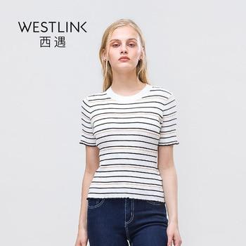 Westlink 2017 Printemps Nouveau Contraste Couleur Bande Vague Tricoté O-cou À Manches Courtes Slim Femmes T-Shirts