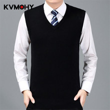 Men Sweater Classic Solid Color Men's Business Wool Vest Male Autumn&Winter Wool Pullover Male Sleeveless Jerseis Hombre Jumper(China)