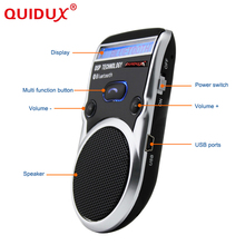 QUIDUX 2017 solar powered speakerphone with LCD screen Wireless Bluetooth Car Kit handsfree speaker car styling(China)