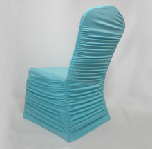 100pcs Tiffany Blue Ruffled Elastic Spandex Chair Covers Pleated Lycra Stretch Chair Covers For Banquet Wedding