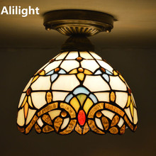 Stained Glass Tiffany Ceiling Light European Classic Ceiling Lamp Living Room Indoor Lighting E27 110-240V Home Decor Fixtures