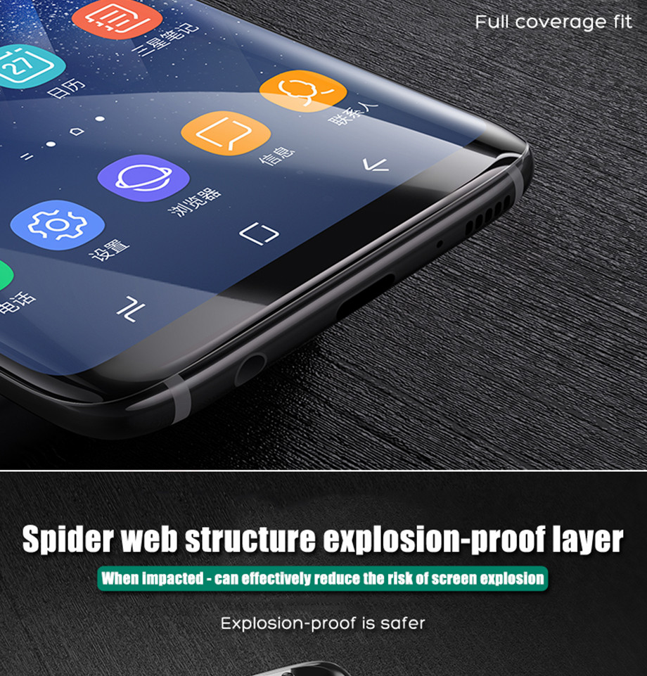 4-PC-For Samsung Galaxy S8 Screen Protective Edge Film For Samsung S9 Plus  Screen Protector