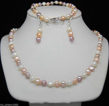 Fashion White Pink Purple 6-7 Freshwater Pearl Necklaces&Bracelets&Earrings Set