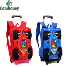 3D Car Shape Children's Backpack Trolley School Bag for Boys School Backpacks for Girls Kids Travel Rolling Luggage Schoolbags