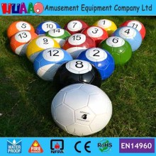 Size 4# Giant Inflatable Snooker Soccer Ball in Snookball Game,Huge Billiards Ball(Air Pump+16 pcs Soccer Toy) Balls)
