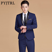 PYJTRL Mens Plus Size 5XL Navy Blue Shawl Lapel Two-piece Stage Singer Wear Latest Coat Pant Designs Prom Wedding Suits For Men(China)