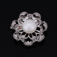 Double Used High Quality Cubic Zirconia Flower and Simulated Brooches or Scarf Clips for Women