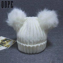 Women Winter Woolen Knitted Faux Fur Double Cap girls beanies big Pompons Ball ski Gorros solid Thick Femal Skullies cute cap