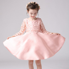 Buy Pink Girls Lace Flower Wedding Dress Pink Dresses Long Sleeve Birthday Dress Kid Clothes Princess New Years Party Clothing YL196 for $27.84 in AliExpress store