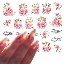 1 Sheets Hot Selling Nail Art Flower Pink Colors Rose Water Design Tattoos Nail Sticker Decals for Beauty Manicure Tools TRA403