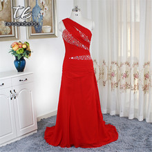 One Shoulder Red Evening Dress Ruched Chiffon Sequins Beading Corset Prom  Dress Court Train Party Gowns vestido de festa curto 6a82156baf14