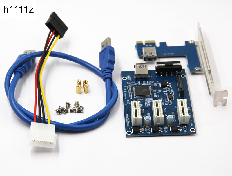NEW PCIe 1 to 3 PCI express 1X slots Riser Card Mini ITX to external 3 PCI-e slot adapter PCIe Port Multiplier Card<br>