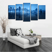 2016 Top Fashion Hot Sale Oil Painting Unframed 5 Panels City Picture Hd Canvas Print Artwork Wall Art Wholesale For Home Decor