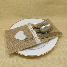 Buy FREE SHIPPING 24pcs Jute Hessian Burlap Cutlery Holder Silverware Pockets rustic Wedding Table decor vintage wedding decoration for $16.81 in AliExpress store