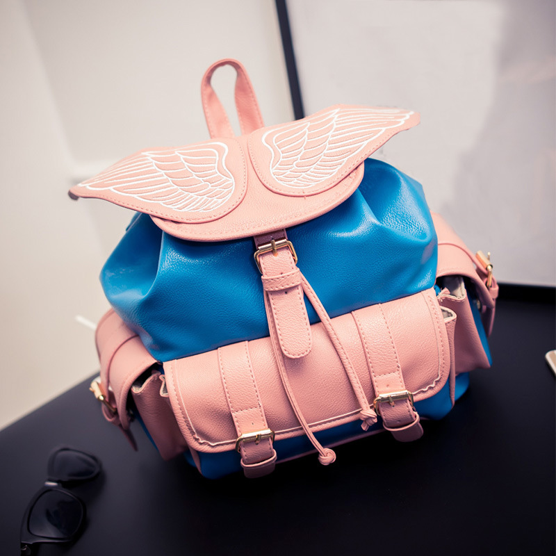new fashion stereo handsome personalized novelty angel wings backpack / large capacity backpack school bag mochila freeship<br>