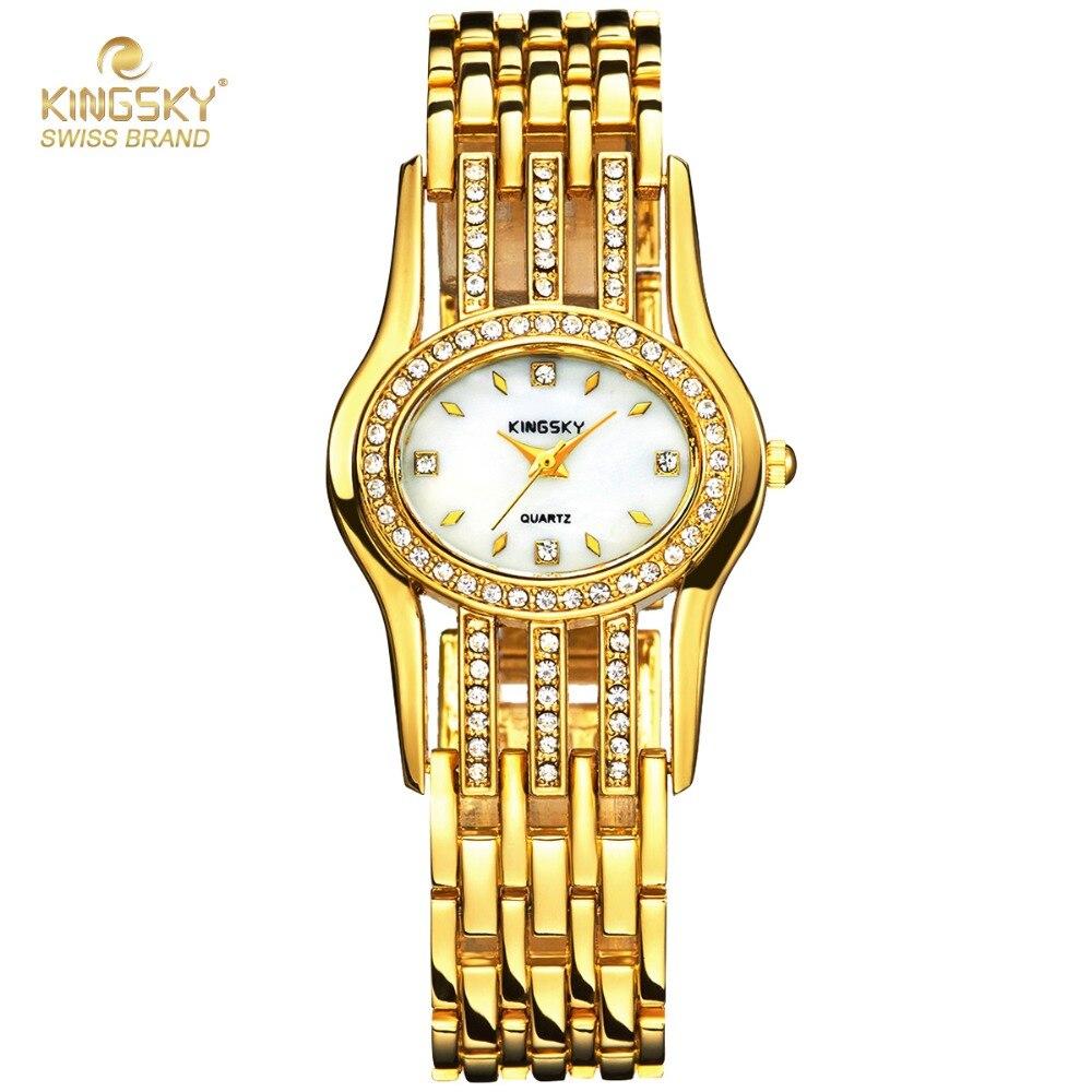 Ladies Watches Famous Brand Luxury Gold Quartz Watches Rhinestone Crystal Fashion Ladies Dress Watches Relogio Feminino<br><br>Aliexpress