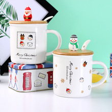 2017 New Pattern Santa Claus Snowman Ceramics Mugs 3-dimensional 3d Merry Christmas Doll Gifts Cover Spoon Coffee Cup Wholesale(China)