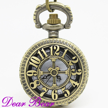 PS032 Vintage Bronze Arabic Numerals Cover Peacock Pocket Watch Necklace, Dia 2.7.cm, 12pcs/lot, Free shipping