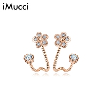 iMucci Young Girls Jewelry Gift Earrings Exquisite Crystal Flower Cute Stud Earring Party Fashion Ornament Dress Accessories
