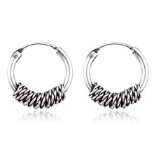 European Vintage Silver Color Endless Earrings Circel  Handmade Small Hoop Earring Bali Wrap For Women Fashion Jewelry