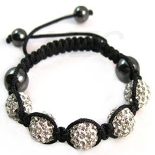 Healthy!10mm 5 CZ White Crystal Disco Ball Shamballa Bracelet. Free Shipping ADE4443 Rhinestone Bracelet Best Christmas Gift!(China)