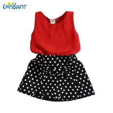 LONSANT Brands Newborn Girls Dress Sleeveless Chiffon Tops Polka Dot Bowknot Skirt Summer Clothes Kids Clothing Dropshipping