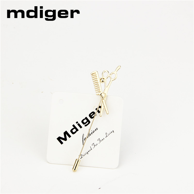 Mdiger Fashion Simple Shirt Brooch Men's Suits Insert Long Lapel Pins Unisex Comb Scissors Broches Corsage for Wedding Corsage(China)