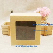 10*10*10cm30pcs FREE SHIPPING Kraft Brown Wedding Candy Boxes with transparent pvc Window,Birthday Gift Box .favors window box