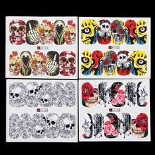 48 sheet Nail Art Halloween Nail Sticker Sets Skull Style Water Decals Full Nail Wraps Decoration Nails Accessories Women