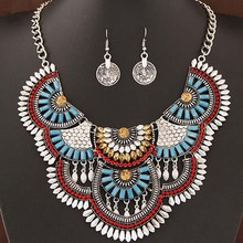 Wholesale African Costume Jewelry Sets Vintage Bohemian Gold Crystal Choker Necklace Earrings Set for women(China)