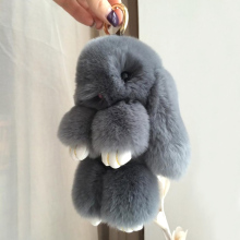 2017 Genuine Rabbit Fur Bunny Keychain Women Trinket Pompom Bag Charm Hare Keyring Pompon Key Holder For Phone Car Jewelry Gift(China)