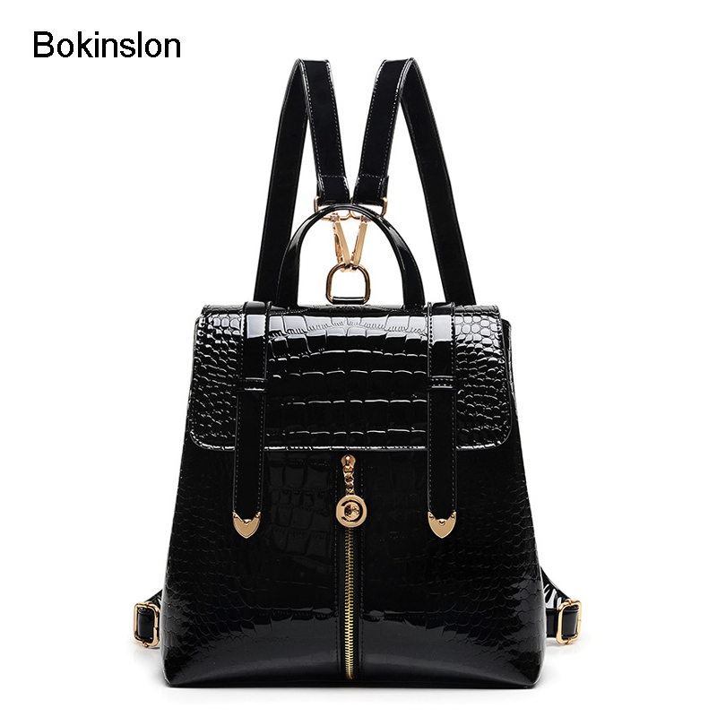 Bokinslon Backpack Womens Schools Fashion Patent Leather Backpack Womens Casual Alligator Stripe Backpack Women Brand<br>