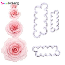 Shebaking 3pcs/set Plastic Rose Flower Cookie Cutter Pastry Biscuit Fondant Baking Mold DIY Cake Decorating Tools(China)