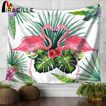 Miracille Tropical Leaf Flamingo Pattern Wall Art Hanging Tapestry Decorative Sofa Chair Cover Fashion Beach Towel Table Cloth(China)
