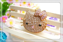 Crystal necklace kitty cat heart usb flash drive / Usb Memory stick / pen drive 4GB 8GB 16GB 32GB 64GB Real capacity S240(China)