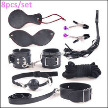 8PCS/Kit Sexy Black Pu Leather Fetish Bed Restraints Couples Sex Products Bdsm Bondage Set,Handcuffs Collar Gag Whip Nipple Clip