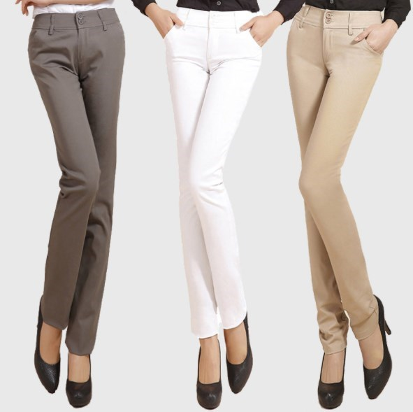2019 Office Ladies Slim Trousers Womens Skinny Suit Pants Black White Khaki Casual Pencil Pants for Women Plus Size 4XL 5XL 6XL