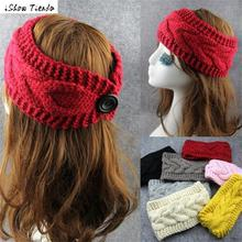 Elastic Ribbon Headband Fashion Buttons Crochet Knitted Headband Flower Women Bandeau Cheveux Femme #2989