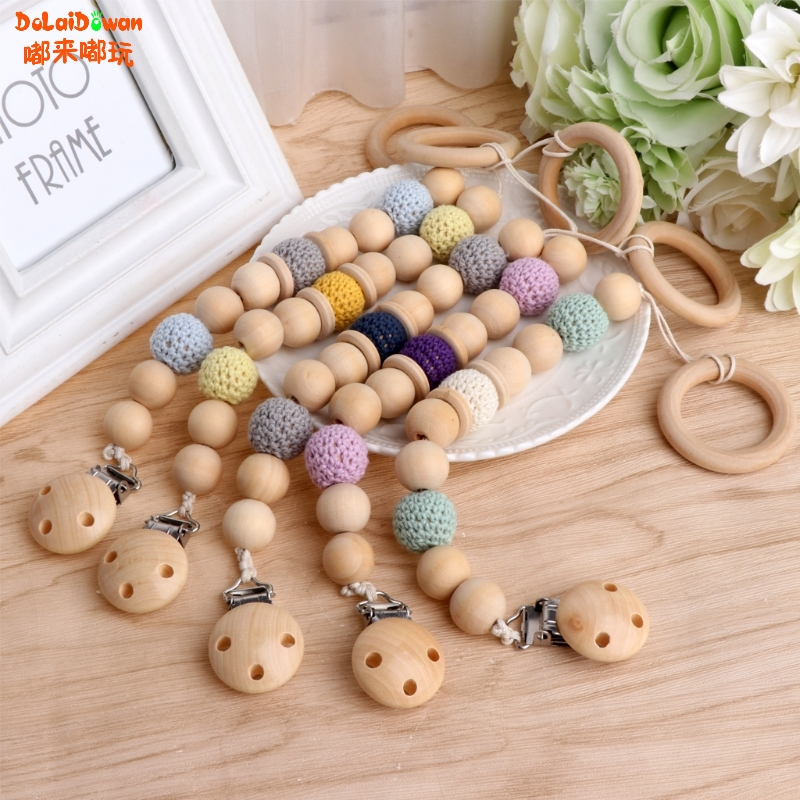 Baby Infant Wooden Bead Loop Pacifier Holder Clip Nipple Teether Dummy Strap Chain