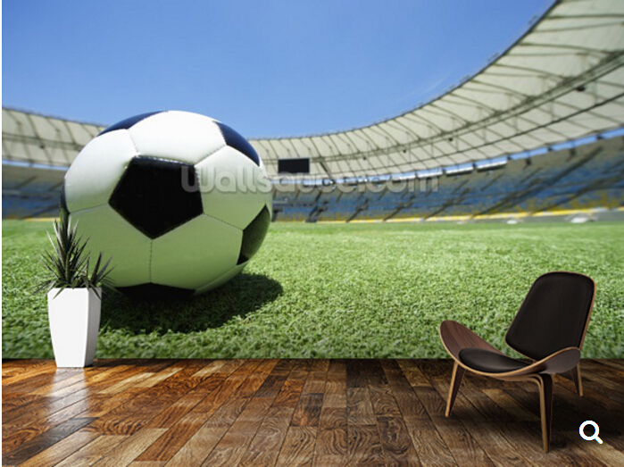 Custom 3d stereoscopic wallpaper,Football Soccer Ball Green Grass Stadium Pitch for children room  TV wall vinyl papel DE parede<br>