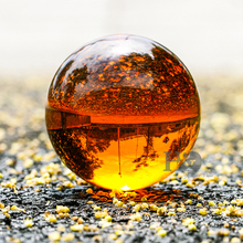 80mm Amber Asian Quartz feng shui ball Crystal Ball with base Sphere Fashion Table Decor Good Luck Ball Free Shipping