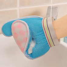4PS Shower Gloves Exfoliating Wash Skin Spa Bath Gloves Foam Bath Skid Resistance Body Massage Cleaning Loofah Scrubber Cheapest