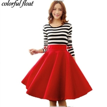 Paige Skirts Space cotton Autumn Winter Grown Place Umbrella Skirt Retro Waisted Body Skirt New Europe And The Code Word Pleated(China)