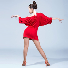 Sexy red Latin Dance side split Women Girls  Flamengo Salsa Samba Tango Ballroom Competition Costume Lady Dance loose Tops