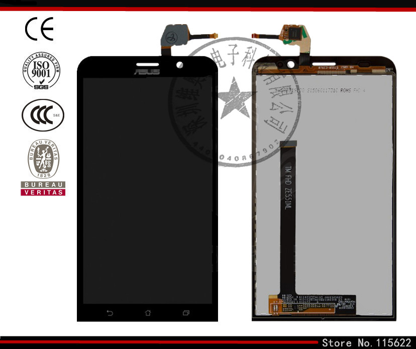 LCD display screen for Asus ZenFone 2 (ZE551ML) Cell Phone, (black, with touchscreen,with Logo)<br><br>Aliexpress