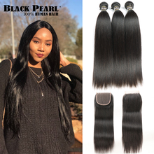 Black Pearl Pre-Colored 3 Bundles with Closure Straight Human Hair Bundles with Closure Brazilian Hair Weave Bundles Non-Remy(China)