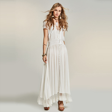 Buy Young17 Summer Dress Women Bohemian Long Beachwear Hollow Patchwork Lace V Neck Vacation Boho White Dress Female Beach Dress for $23.91 in AliExpress store